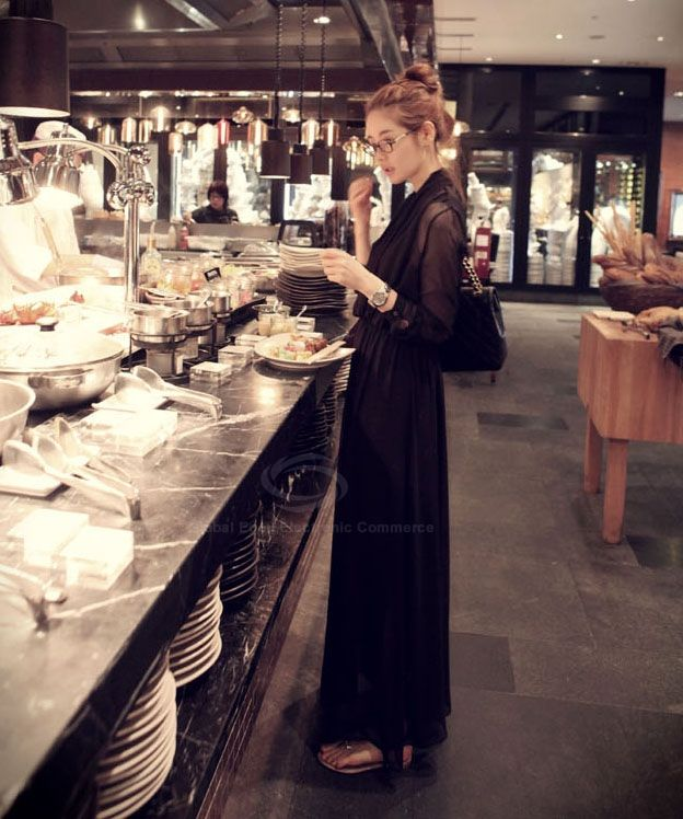 Stylish V-Neck Long Sleeve Chiffon Women's Maxi Dress
