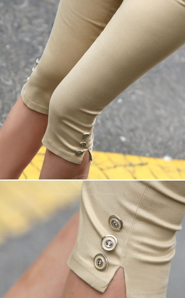 Stylish Slimming Fit Button Embellished Women's Skinny Shorts