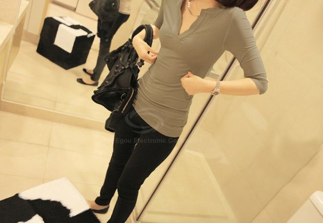 Sexy V-Neck Slimming Three Quarter Sleeve Pure Color T-Shirt For Women