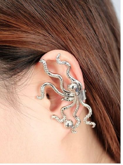 Rhinestone Inlaid Octopus Shape Alloy Earring