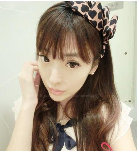 Fashion and Sweet Heart Print Multi-Layered Bowknot Embellished Hair Band