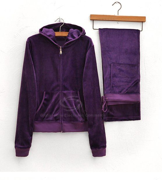 Casual Style Solid Color Hooded Pocket Design Long Sleeves Long Pants Velvet Women's Suit