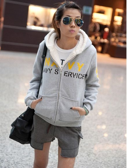 Stylish Hooded Zipper Design Thicken Long Sleeves Letter Printed Woolen Yarn Women's Hoodies