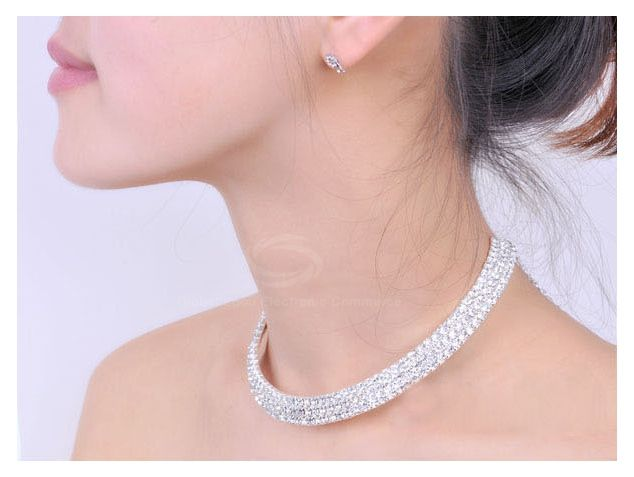 Rhinestone Embellished Wedding Jewelry Necklace