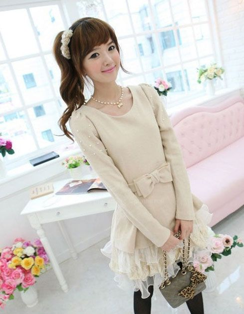 Sweet Scoop Neck Bowknot Embellished Wool Splicing Gauze Long Sleeve Women's Dress
