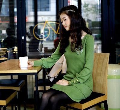 Stylish Scoop Neck Button Embellished Puff Long Sleeve Cotton Women's Dress