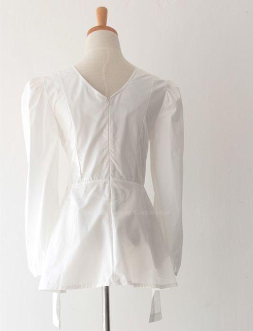 Elegant Style Simple Design Waist Pure Color Long Sleeve Blouse For Women