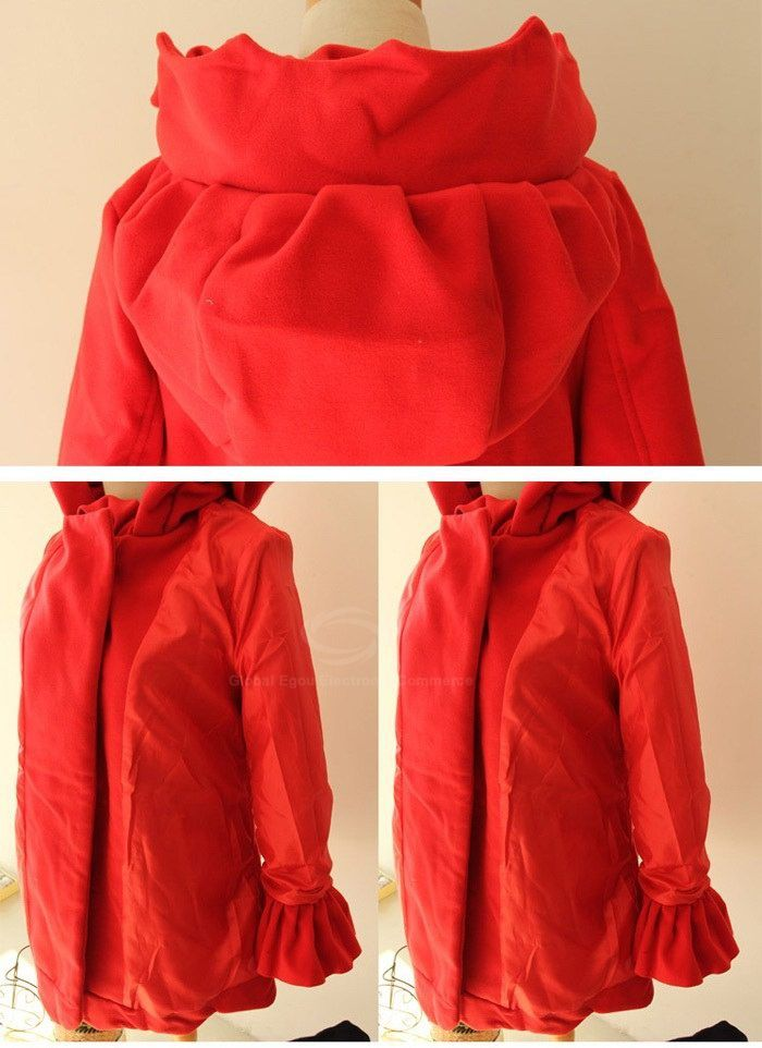 Ladylike Ruffle Design Double-Breasted Long Sleeves Hooded Women's Red Coat