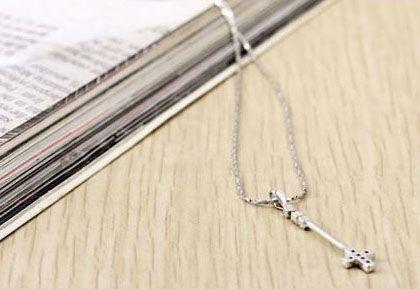 Elegant and Exquisite Rhinestone Embellished Latin Cross Pendant Women's Necklace