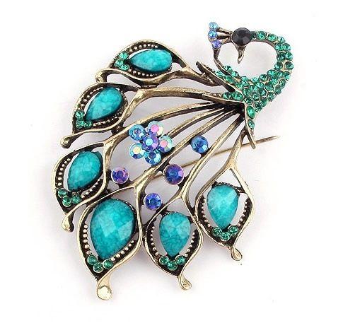 Retro Style Rhinestone Embellished Peacock Shape Brooch