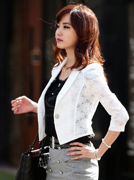 Stylish Slimming Fit 3/4 Puff Sleeve Lace Women's Suit Coat