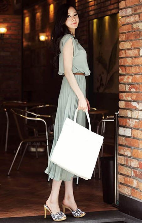 Elegant Style Slim Chiffon Long Sleeve Mandarin Collar Dress For Women