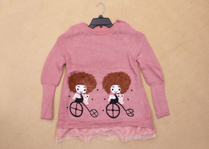 Cute Girl Patterns Ruffles Hem Long Sleeve Knitted Sweater For Women