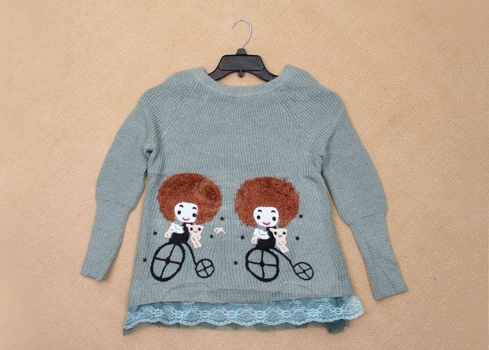 Cute Girl Patterns Ruffles Hem Long Sleeve Knitted Sweater For Women