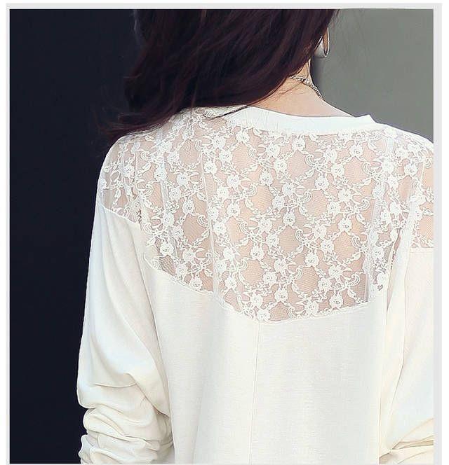 Women's Batwing Top Dolman Long Sleeve Lace Loose T Shirt