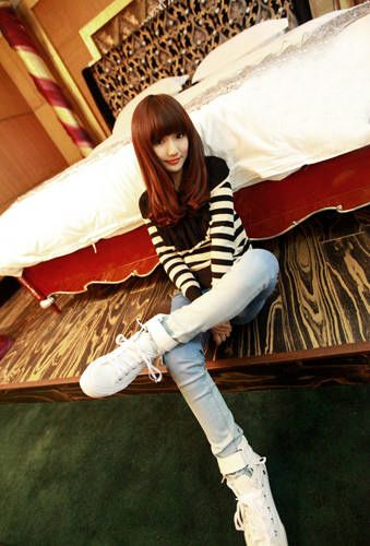 Turndown Collar Stripe Print Long Sleeve Knitting Women's Sweater