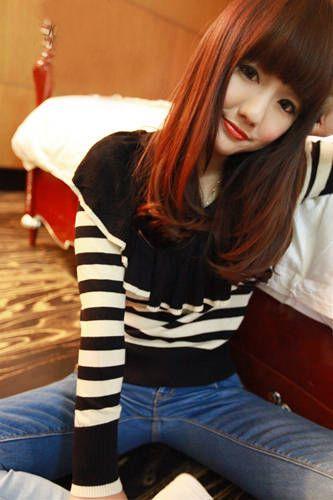 Turndown Collar Stripe Print Long Sleeve Knitting Women's Sweater