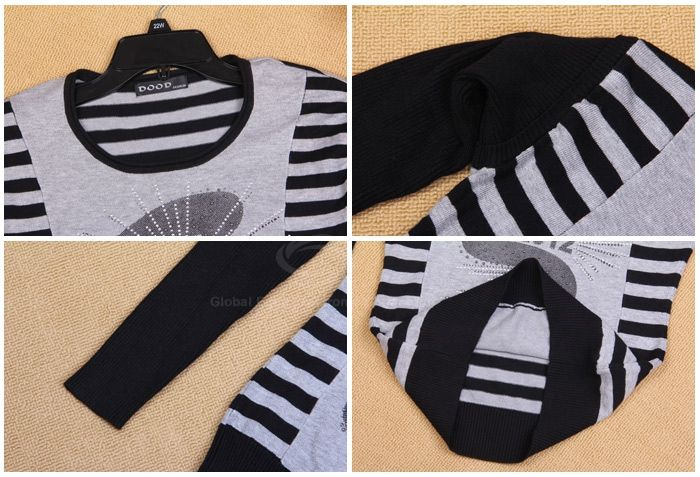 Rhinestone Embellished Patterns Round Neckline Long Sleeve Back Stripes Seater For Women