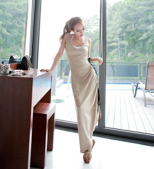 Slimming Side Drawstring Design Khaki Women's Maxi Dress