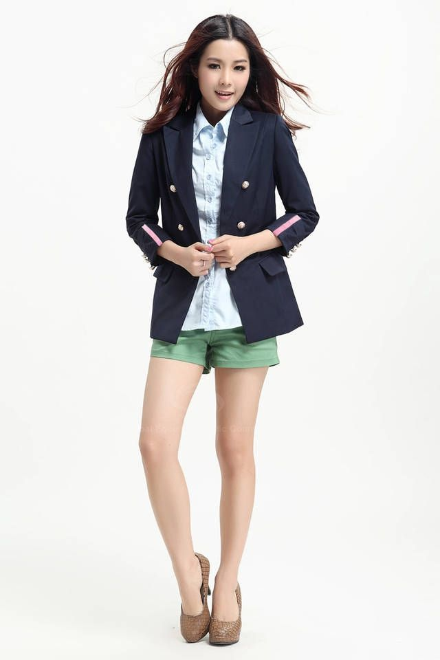 Morden Style Slimming Tailored Collar Solid Color Long Sleeves Cotton Blend Women's Blazers