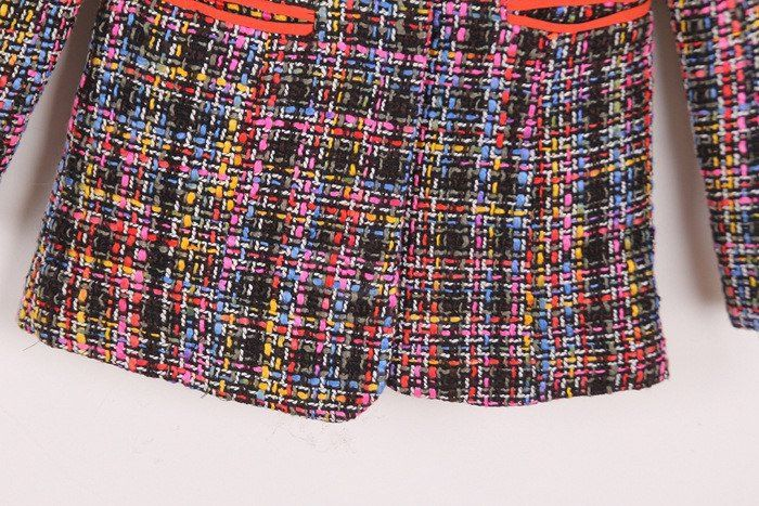 Fashionable Lapel Single Button Colourful Long Sleeve Women's Coat