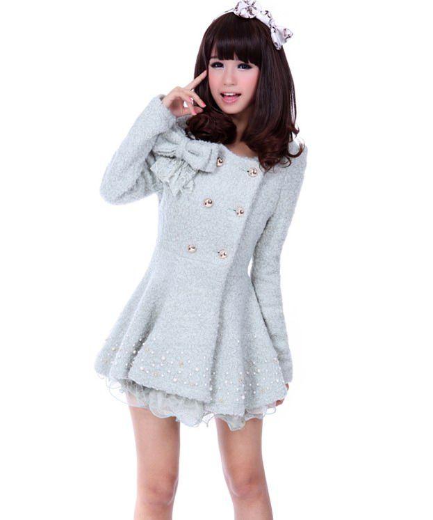 Sweet Slimming Fit Double Breasted Gauze Hem Bowknot Embellished Women's Woolen Coat