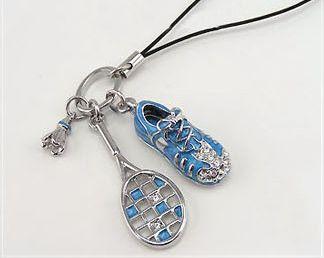 Korea Style Rhinestone Embellished Racquet and Shoe Pendant Mobile Chain