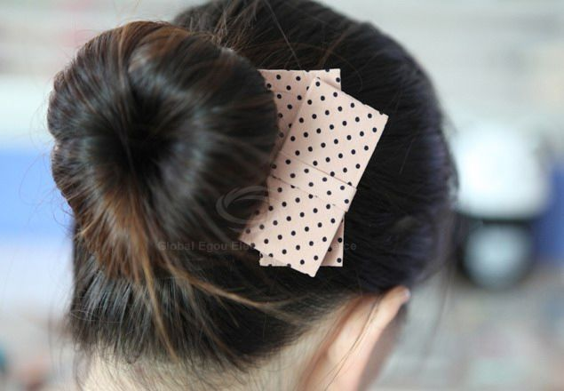 Exquisite Korea Style Dot Print Irregular Bowknot Embellished Hairpin For Women