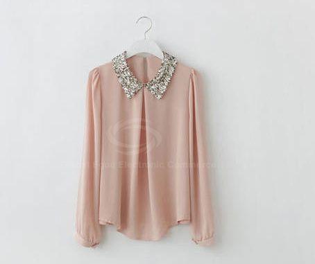 Retro Sequin Embellished Turndown Collar Puff Sleeve Chiffon Women's Shirt
