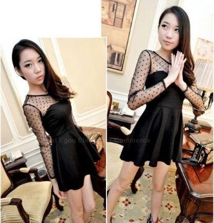 Slimming Long Sleeve Milk Silk Voile Splicing Women's Dress