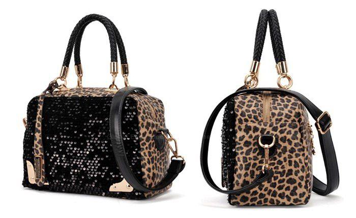Stylish Color Matching Leopard Patterns Sequins Design Women's Handbag