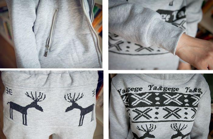 Deer Pattern High Neck Hoodie + Waistcoat + Pants Women's Three-Piece