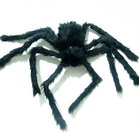 Top Grade Frightening Black Plush Spider with Red Eyes For Halloween