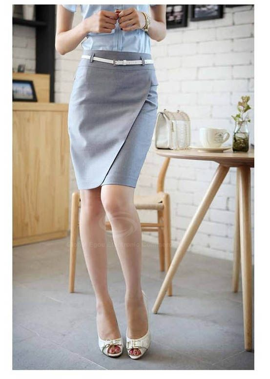 Graceful OL Style Women's Pencil Skirt(With Belt)