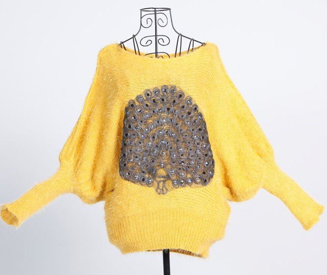 Stylish Scoop Neck Elastic Hem Peacock Pattern Long Dolman Sleeve Women's Sweater