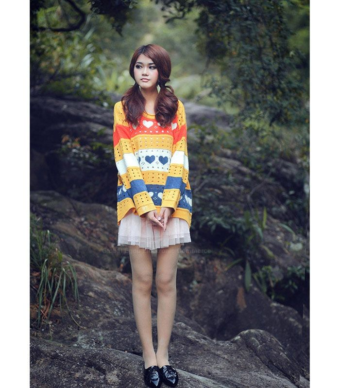 Casual Loose Fitting Scoop Neck Heart Print Hollow Women's Long Sleeve Sweater