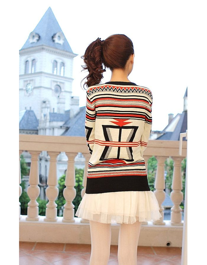 Sweet V-Neck Stripe Fleece Long Sleeve Women's Sweater Cardigan