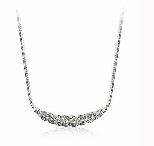 Rhinestone Embellished Geometric Necklace