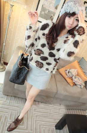 Stylish Leopard Scoop Neck Long Sleeve Women's Plush Blouse