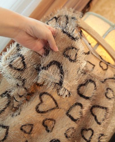 Stylish Leopard Scoop Neck Long Sleeve Women's Plush Blouse