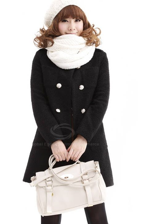 Korean Style Fashionable Long Sleeve Double-Breasted Shawl Woolen Coat For Women