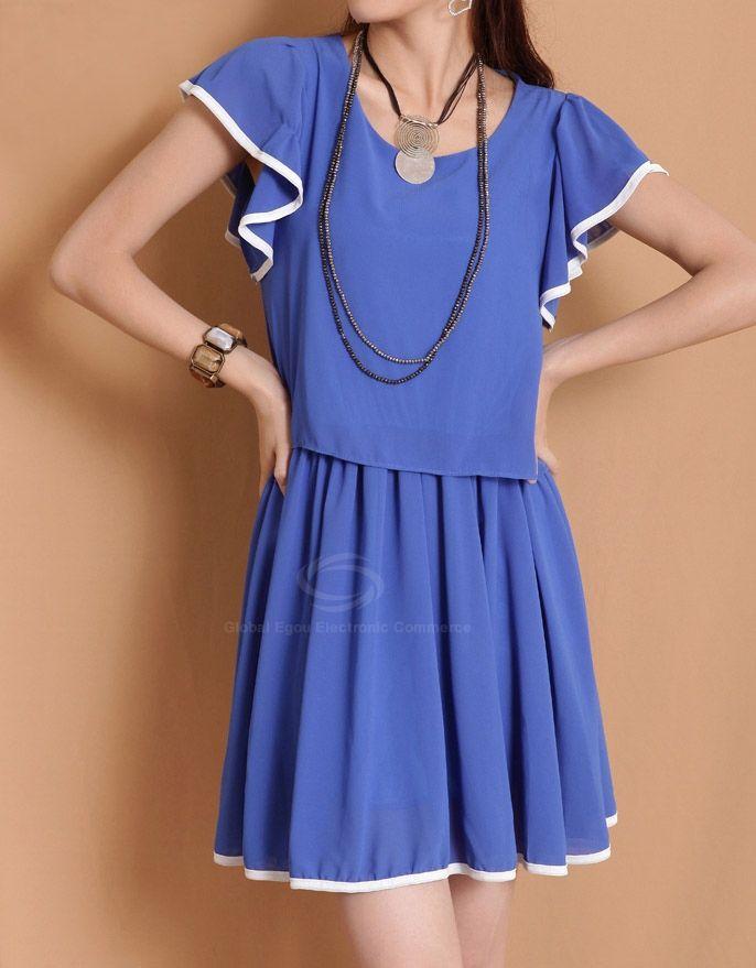 Stylish Scoop Neck Flouncing Short Sleeve Women's Chiffon Dress