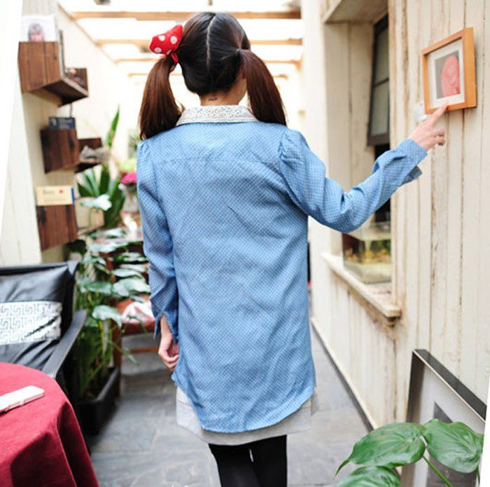 Trendy Lace Lapel Polka Dot Print Denim Women's Shirt
