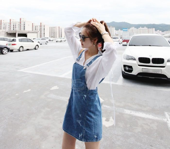 Retro Style Scratch Design Sleeveless Blue Jeans Women's Dress