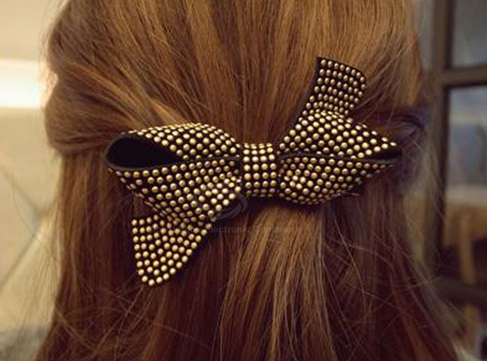 Delicate and Retro Style Bowknot Shape Stud Embellished Hairpin For Women