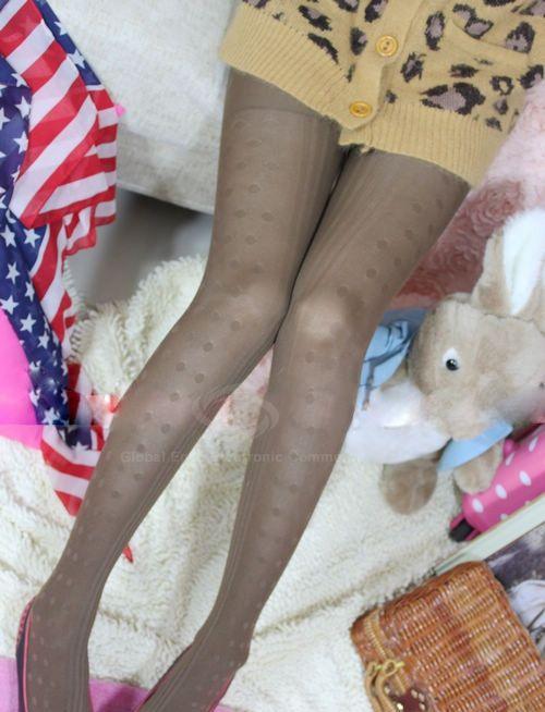 Chic Polka Dot and Stripe Pattern Women's Slim-Fit Pantyhose