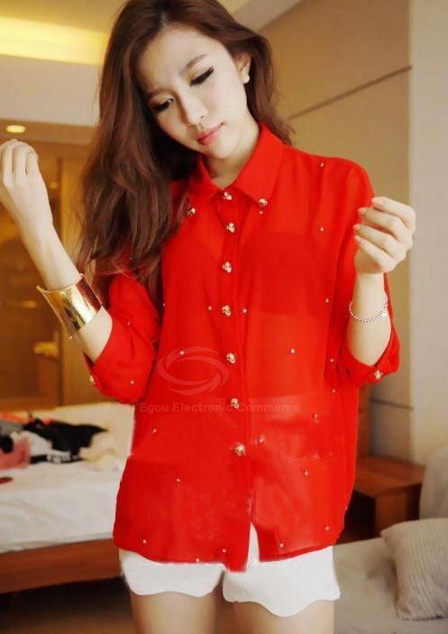 Красная Шифоновая Блузка В Спб