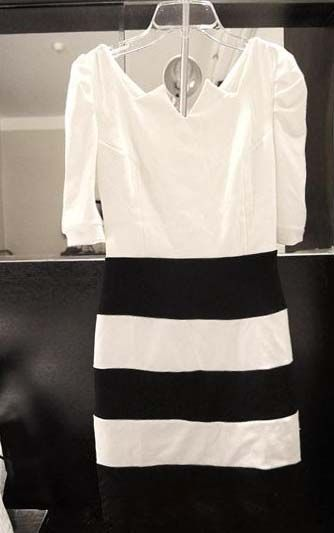Morden Style Elastic Unique Collar Design Short Sleeve Cotton Blend Women's Stripe Dress