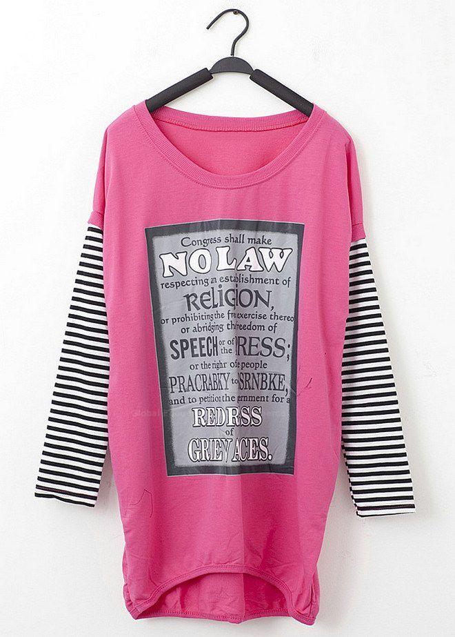 Chic Letter Print Stripe Sleeves Scoop Neck Women's Oversized T-Shirt