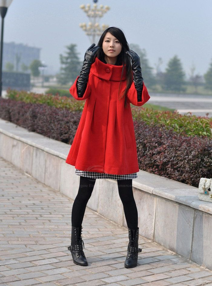 Casual Stand Collar Long Sleeve Solid Color Wool Women's Coat